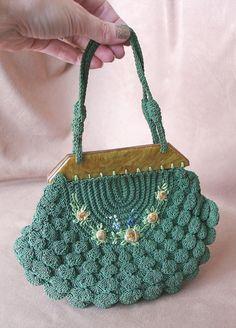 Vintage 1930's Crochet Handbag with Bakelite by momodeluxevintage