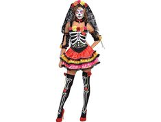 Day of the Dead Senorita Skeleton Costume including a Dress, Sleevelettes, Thigh Highs, Choker, and Headband with attached Veil – Ideal for Halloween! Costume Halloween, Wholesale Halloween Costumes, Women Halloween, Diy Halloween, Halloween Pumpkins, Costumes For Teens, Group Costumes, Diy Costumes, Costume Ideas