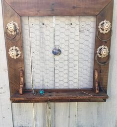 💎Rustic yet finished, that's how we do it! Jewelry Holder Wall, Jewelry Organizer Wall, Jewelry Organization, Christmas Gifts For Wife, Wooden Jewelry, Rustic Jewelry, Hanging Earrings, Easy Wall, Walnut Stain