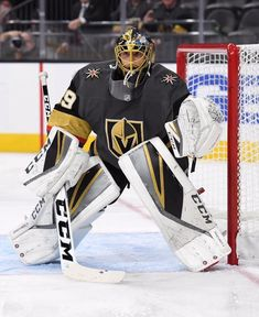 0bdbccb2a LAS VEGAS NV - SEPTEMBER Marc-Andre Fleury of the Vegas Golden Knights  tends net during a preseason game against the Colorado Avalanche at  T-Mobile Arena on ...