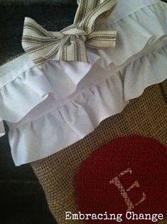 No-Sew DIY Burlap Christmas Stockings  No ruffles for me, but this does seem pretty simple.