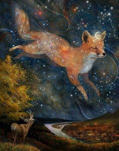The Fox in the Starlight print star fox art print Original Anime, Fuchs Illustration, Fox Spirit, Spirit Animal Fox, Pagan Art, Star Fox, Fox Art, Constellations, Fantasy Art