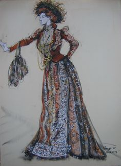 "Barbra Streisand (Original Costume Sketch), ""Hello Dolly,"" Century Fox, Designed by Irene Sharaff Theatre Costumes, Ballet Costumes, Movie Costumes, Cool Costumes, Amazing Costumes, Dress Sketches, Fashion Sketches, Fashion Art, Vintage Fashion"