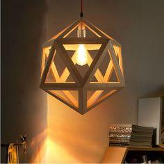 Bulb Wood Pendant Light Fixture Inside Hexahedral Wooden Restaurant Phenomenal Books Magazine Aliexpress