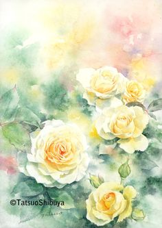 Watercolor Artwork, Watercolor Rose, Watercolor Artists, Music Drawings, Indian Art Paintings, Flower Art, Bouquet, Flower Watercolor, Paisajes