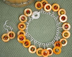 'Citrus Cha-Cha' bracelet and earrings set by TTE Designs on Art Fire  $18 Us Navy Wife, Earring Set, Washer Necklace, My Etsy Shop, Cocktails, Beads, Projects, Blog, Crafts