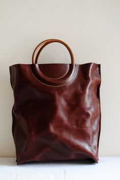 Hand Stitched Washed-Out Brown Leather Tote Bag