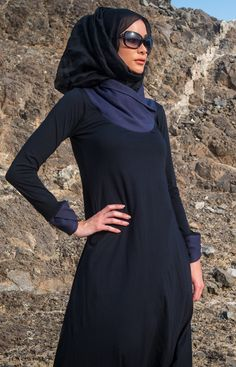 Awesome collar. Black Navy Abaya. #Abaya #Hijab http://www.aabcollection.com/shop/product/black-navy-abaya/720#