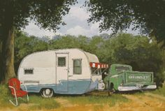 """BOONDOCKING"" VintageTravel Trailer Art Paige Bridges antique canned ham camper RV 