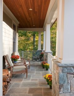 Craftsman Style Front Porch Wood Ceiling Stone Pillars Home Design Ideas, Pictures, Remodel and Decor Craftsman Front Porches, Front Porch Columns, Front Porch Design, Craftsman Style Homes, Porch Designs, Stone Tile Flooring, Porch Flooring, Tiled Floors, Flagstone Flooring