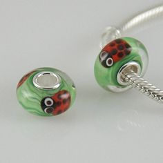 1 Bead - Ladybug Animal Sterling Silver Core .925 Lampwork Glass European Bead Charm GJ1002 LC0097