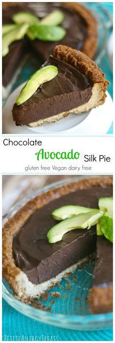 Healthy Chocolate Silk Pie (gluten free vegan dairy free)- Decadent chocolate and avocado blended to a silky pie, no added fat or sugar. avocado, dairy free (healthy sweets no dairy) Paleo Dessert, Gluten Free Desserts, Dairy Free Recipes, Vegan Gluten Free, Dessert Recipes, Pie Recipes, Dairy Free Deserts, Dairy Free Pizza, Cooking Recipes