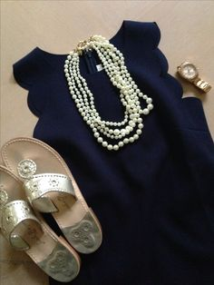 Preppy style, J. Crew scallop dress and pearl necklace, Jack Rogers, Fossil Watch