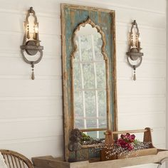 You won't be able to take your eyes off of this beautiful mirror! Taking inspiration from Gothic and Moorish architectural arches, the distressed fir wood frame has a scalloped pattern with a pointed onion dome. Each stunning mirror is uniquely hand-distressed and painted. Tall Mirror, Wood Mirror, Distressed Mirror, Mirror On The Wall, Wall Of Mirrors, Painted Mirrors, Distressed Decor, Diy Mirror, Distressing Painted Wood