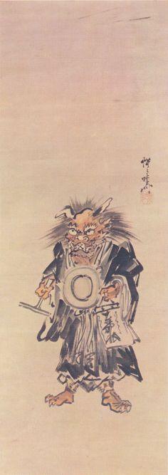 Kawanabe Kyosai: Oni-no-nembutsu: Devil with Prayer Drum [2]