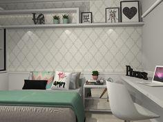 Dormitório Teen | papel de parede geométrico