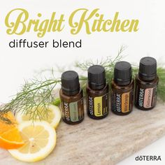 To give your kitchen a bright and happy feel without having to remodel, place the following in your diffuser:  5 drops Lemon, 2 drops Wild Orange, 1 drop Fennel, 1 drop Cedarwood