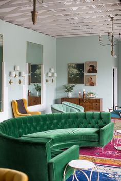 velvet green sofa // The Fig House // Emily Henderson