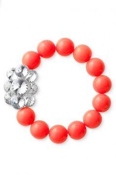 Color Crush Statement Necklace Set by Stella & Dot. Image of girls' coral bead & flower brooch necklace & bracelet.