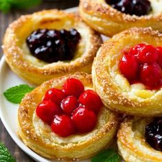 These cream cheese danish are a light and flaky pastry topped with a sweet cream cheese filling and fruit. An easy yet elegant breakfast option. These cream cheese danishes are quick to make and taste so much better than the grocery store variety! Cream Cheese Danish, Cream Cheese Filling, Cream Cheeses, Brunch Recipes, Dessert Recipes, Fruit Pastry Recipes, Sweet Puff Pastry Recipes, Easy Puff Pastry Desserts, Pear Dessert