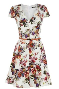 How can you not love floral print dresses like this?  Floral Print Belted Skater V-Neck Cap Sleeves  Dress