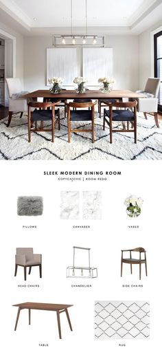 Copy Cat Chic Room Redo | Sleek Modern Dining Room