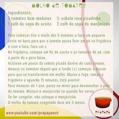 Molho de Tomates Caseiro Link: https://youtu.be/A6SU46porpQ