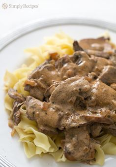 Beef Stroganoff ~ Tender strips of beef and mushrooms cooked in sour cream and served over noodles make up this classic beef stroganoff recipe. ~ SimplyRecipes.com
