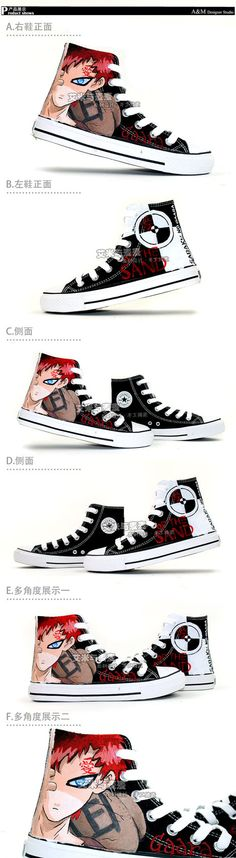 Naruto Gaara Hand Painted Hightop Canvas by PaintedShoesCosplay