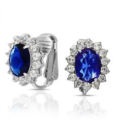 Bling Jewelry Kate Middleton Inspired Sapphire Color CZ Bridal Clip On Earrings Bling Jewelry