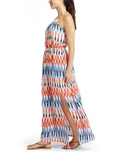 Sunset Maxi Dress - The classic shape in a maxi dress that has a flattering high neck with adjustable tie for custom coverage and side slit for mobility.
