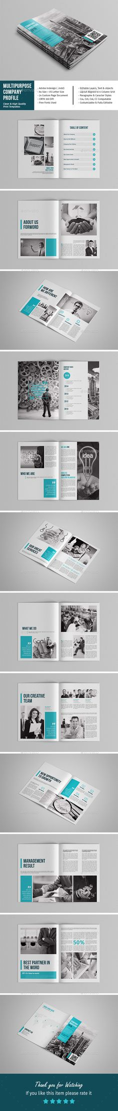Multipurpose Company Profile  — InDesign Template • Only available here ➝…