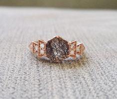 "Antique Diamond Rutilated Quartz Engagement Ring Rose Gold 1920s Grey Black Copper Gemstone Rustic Bohemian PenelliBelle ""The Florence"""