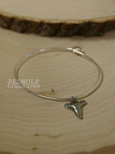 SALE Shark Tooth Charm Bangle Bracelet. $10.00, via Etsy.
