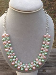 Pearl necklace, Spring Cluster Necklace, Pink and Green necklace, pink necklace, bauble necklace, Apple Blossom Necklace, bridesmaid gift by TrinketsByThandeka on Etsy