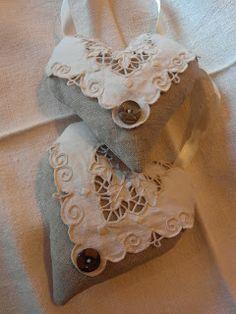 antique linen hearts