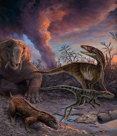 Animales, entre ellos dos precursores de los dinosaurios (derecha), escapan de la erupción de un volcán hace 235 millones de años en Chañares.
