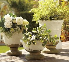 Tuscan planters bring a rustic charm to simple outdoor arrangements.