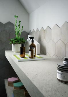 Slate hexagon tile bathroom pinterest feature tiles pretty 39 and hexagon tiles - Tegel credenza ...