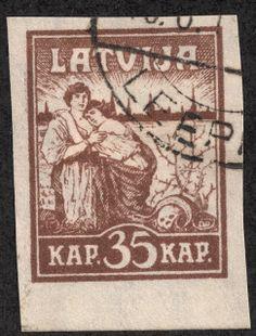 "Latvia 1919 Scott 45 35k brown ""Liberation of Riga"""