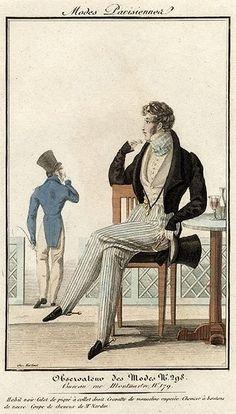 Modes Parisiennes 1823. Regency fashion plate.