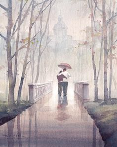 Walking in the Rain Art print of Watercolor Painting - Man and Friend, Park, Trees, Rain. Walking in the Rain ▼Archival reproduction of original oil painting ▼Choose from 8x10, 12x15, 16x20 Inches ▼Archival print printed with Epson Ultra Chrome pigment inks on Hahnemuhle Fine Art paper. ▼The print looks very much like an original watercolor painting. ▼Prints will come signed ▼8x10 prints are packed in a clear cello sleeve with heavy duty board mailer to avoid bending ▼12x15 and 16x20…