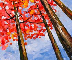 Looking Up Fresh Fall Forest Art Contemporary Huge by elseart