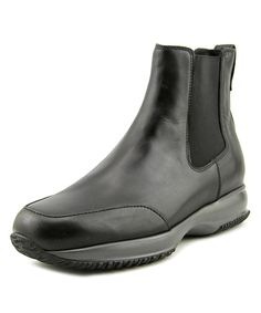 HOGAN Hogan Interactive Stivaletto Elastico Men  Round Toe Leather Black Ankle Boot'. #hogan #shoes #boots