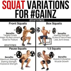 "6,748 mentions J'aime, 167 commentaires - Jordan Syatt (@syattfitness) sur Instagram : ""💥SQUAT VARIATIONS FOR #GAINZ💥 - ☕️There are, I'd wager, a million squat variations, at least, and…"""