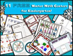 11 FREE Winter Math Centers for Kindergarten!