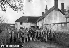 Land Girls with their pruning saws ready to take part in an Orchard Pruning Test organised recently by the Devon War Agricultural Executive Committee held at Lower Creedy Farm near Crediton, Devon