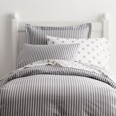 Aiden Gray Stripe Percale Bedding Duvet Cover - The Company Store