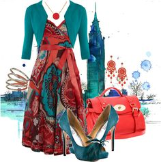 """Coral and Teal"" by amo-iste on Polyvore"