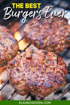 Grilled Burger Recipes, Hamburger Meat Recipes, Best Burger Recipe, Grilled Cheeses, Beef Dishes, Food Dishes, Main Dishes, Sauce Teriyaki, Beste Burger